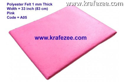 Poly Felt Fabric 1mm - Pink (1 meter)