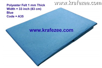 Poly Felt Fabric 1mm - Blue (1 meter)