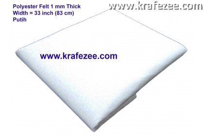 Poly Felt Fabric 1mm - White (1 meter)