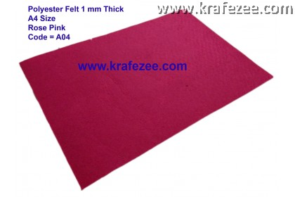 Poly Felt 1mm A4 Size - Roses Pink
