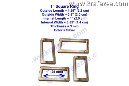 Silver Metal Square Rings 1 inch (25 mm)
