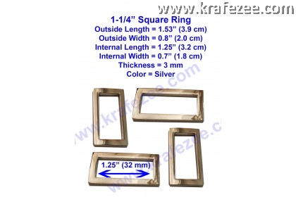 Silver Metal Square Rings 1.25 inch (32 mm)