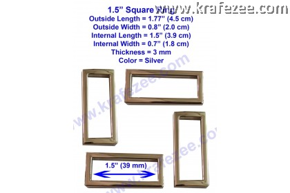 Silver Metal Square Rings 1.5 inch (39 mm)