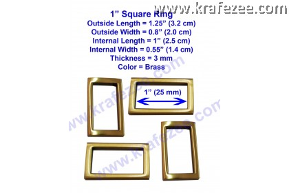 Brass Color Square Rings 1 inch (25 mm)