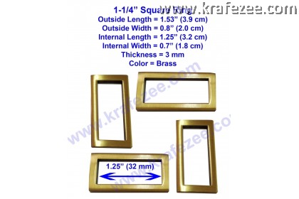 Brass Color Square Rings 1.25 inch (32 mm)