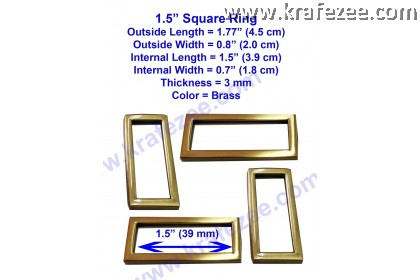 Brass Color Square Rings 1.5 inch (39 mm)