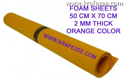 Craft Foam Sheets 2 mm Thick - Orange