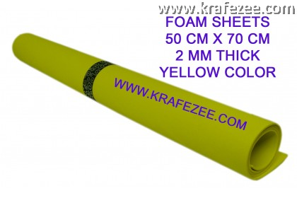 Craft Foam Sheets 2 mm Thick - Yellow
