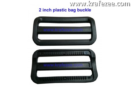 Plastic Buckle Adjuster - 2.0 inch (50 mm) Black [2 pcs]